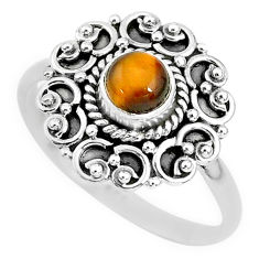 0.82cts solitaire natural brown tiger's eye 925 silver ring size 9 t3122