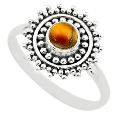 0.86cts solitaire natural brown tiger's eye 925 silver ring size 9 t3605