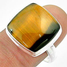 14.18cts solitaire natural brown tiger's eye 925 silver ring size 9 t54054