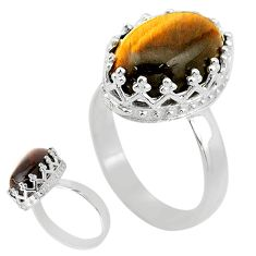 6.57cts solitaire natural brown tiger's eye 925 silver ring size 7.5 t20359