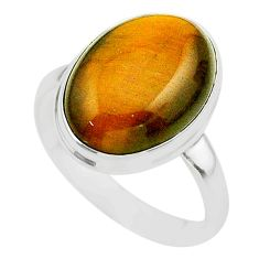 14.26cts solitaire natural brown tiger's eye 925 silver ring size 11.5 t24729