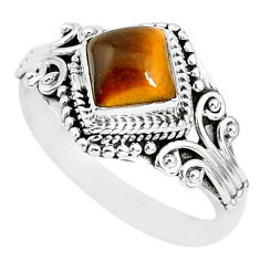 1.15cts solitaire natural brown tiger's eye cushion 925 silver ring size 8 t3127