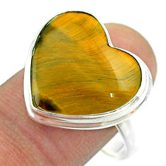 14.88cts solitaire natural brown tiger's eye heart silver ring size 10.5 t54079