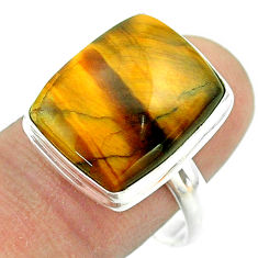 11.91cts solitaire natural brown tiger's eye octagan silver ring size 9 t54069