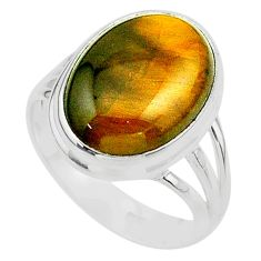 14.26cts solitaire natural brown tiger's eye oval 925 silver ring size 10 t24726