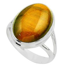 13.51cts solitaire natural brown tiger's eye oval 925 silver ring size 9 t24727
