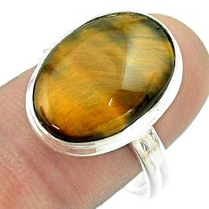 11.58cts solitaire natural brown tiger's eye oval silver ring size 8.5 t54047