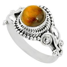 2.69cts solitaire natural brown tiger's eye round 925 silver ring size `6 t3132