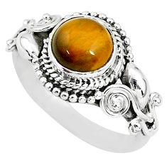 2.53cts solitaire natural brown tiger's eye round 925 silver ring size 7 t3123