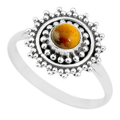 0.76cts solitaire natural brown tiger's eye round 925 silver ring size 8 t3140