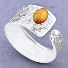 1.51cts solitaire natural brown tiger's eye silver adjustable ring size 8 t47306
