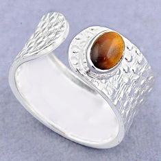 1.47cts solitaire natural brown tiger's eye silver adjustable ring size 8 t47447