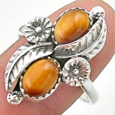 4.70cts solitaire natural brown tiger's eye silver flower ring size 9.5 t25245