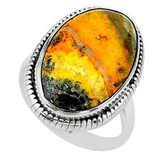Solitaire natural bumble bee australian jasper 925 silver ring size 9.5 t15425