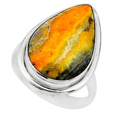 Solitaire natural bumble bee australian jasper 925 silver ring size 9.5 t15467