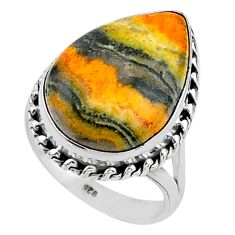 Solitaire natural bumble bee australian jasper 925 silver ring size 8.5 t15508