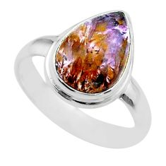 5.06cts solitaire natural cacoxenite super seven 925 silver ring size 7 t56834