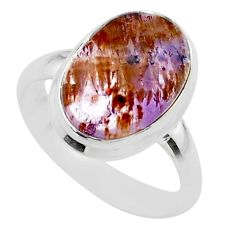 5.63cts solitaire natural cacoxenite super seven 925 silver ring size 7 t56845