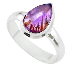 2.28cts solitaire natural cacoxenite super seven 925 silver ring size 7 t56908
