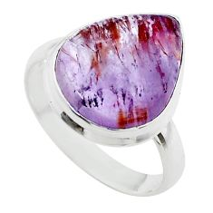 9.96cts solitaire natural cacoxenite super seven 925 silver ring size 9 t56897