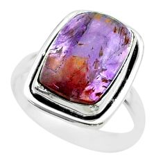 7.10cts solitaire natural cacoxenite super seven 925 silver ring size 8.5 t56836