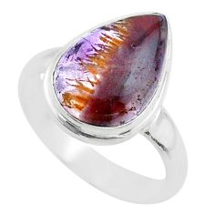 6.35cts solitaire natural cacoxenite super seven 925 silver ring size 7.5 t56837