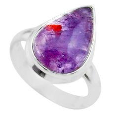 7.50cts solitaire natural cacoxenite super seven 925 silver ring size 7.5 t56868