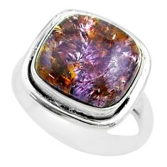 5.81cts solitaire natural cacoxenite super seven 925 silver ring size 6.5 t56877