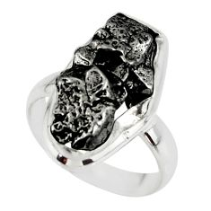 9.47cts solitaire natural campo del cielo (meteorite) silver ring size 6 r51296