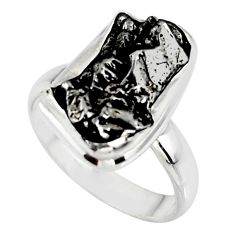 10.81cts solitaire natural campo del cielo (meteorite) silver ring size 7 r51289