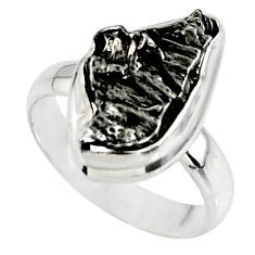 9.86cts solitaire natural campo del cielo (meteorite) silver ring size 7 r51290