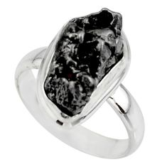 11.95cts solitaire natural campo del cielo (meteorite) silver ring size 8 r51295