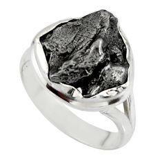 10.60cts solitaire natural campo del cielo (meteorite) silver ring size 8 r51300