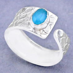 1.43cts solitaire natural chalcedony 925 silver adjustable ring size 8 t47305
