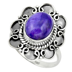 5.23cts solitaire natural charoite (siberian) 925 silver ring size 8.5 r49532