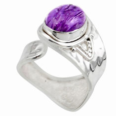 4.23cts solitaire natural charoite (siberian) 925 silver ring size 6.5 r49709