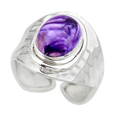 5.11cts solitaire natural charoite (siberian) 925 silver ring size 6.5 r49710