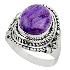 5.01cts solitaire natural charoite (siberian) 925 silver ring size 7 r49525