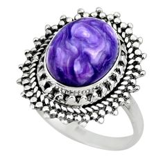 5.06cts solitaire natural charoite (siberian) 925 silver ring size 7 r49534