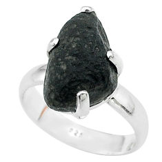 6.39cts solitaire natural chintamani saffordite 925 silver ring size 7 t58086