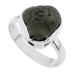 5.63cts solitaire natural cintamani saffordite 925 silver ring size 8 t58007