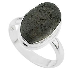 6.75cts solitaire natural cintamani saffordite 925 silver ring size 8 t58010