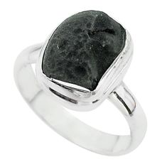 5.63cts solitaire natural cintamani saffordite 925 silver ring size 8 t58053