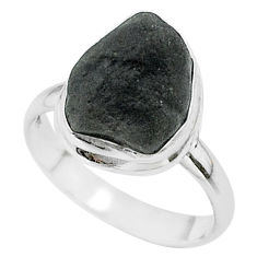 5.38cts solitaire natural cintamani saffordite 925 silver ring size 8.5 t58003