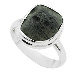 5.63cts solitaire natural cintamani saffordite 925 silver ring size 7.5 t58034