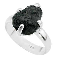 5.03cts solitaire natural chintamani saffordite fancy silver ring size 7 t58091