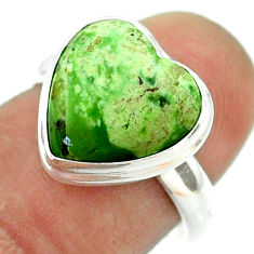 6.72cts solitaire natural chrome chalcedony heart 925 silver ring size 7 t55064