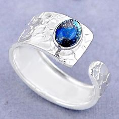 1.51cts solitaire natural chrysocolla 925 silver adjustable ring size 9 t47471