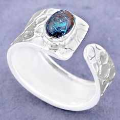 1.51cts solitaire natural chrysocolla 925 silver adjustable ring size 7.5 t47315