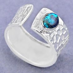 1.46cts solitaire natural chrysocolla 925 silver adjustable ring size 6.5 t47354